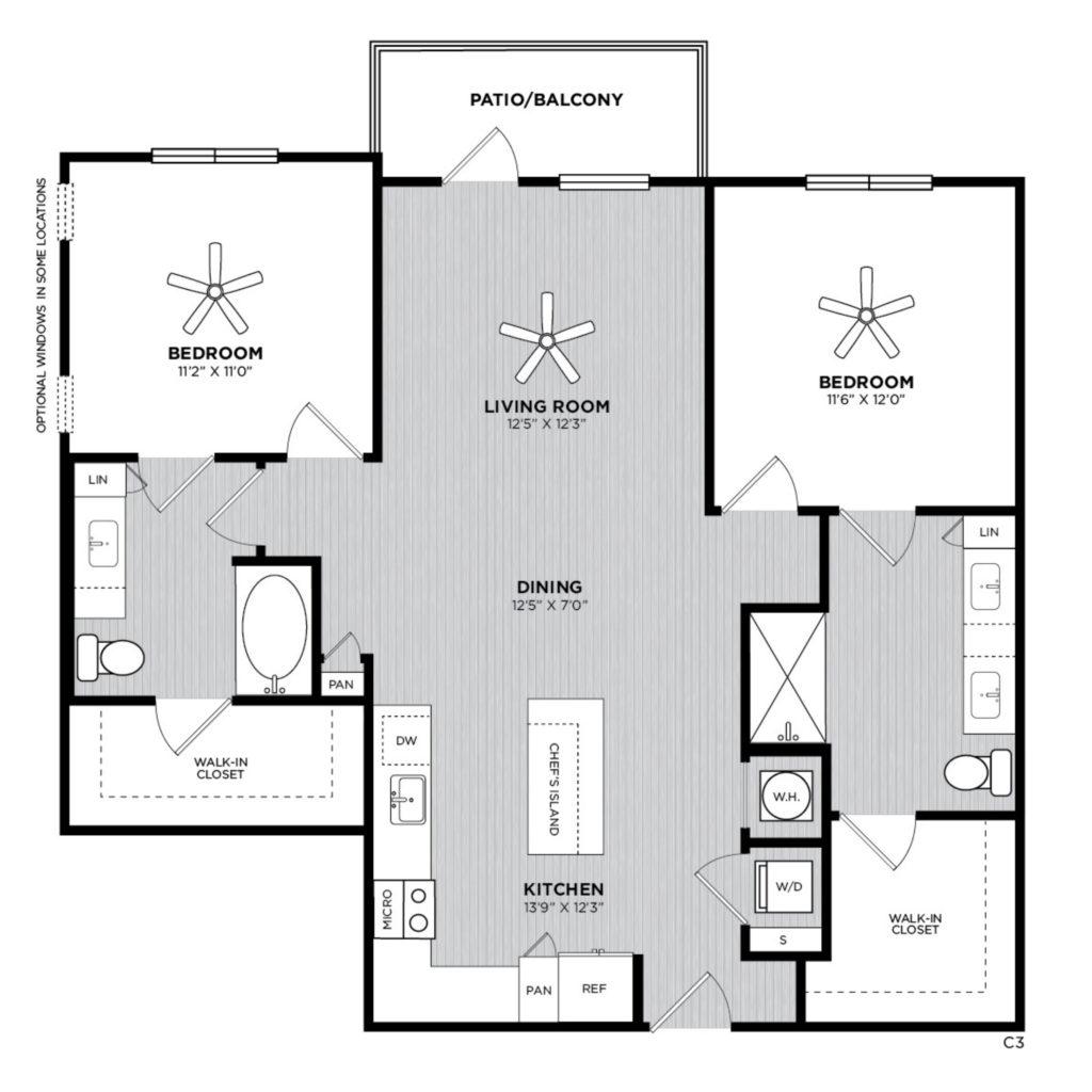 Papaya Two Bed/Two Bath Floor Plan at Alexan 335 - Stunning Two-Bedroom Floor Plans at Alexan 335