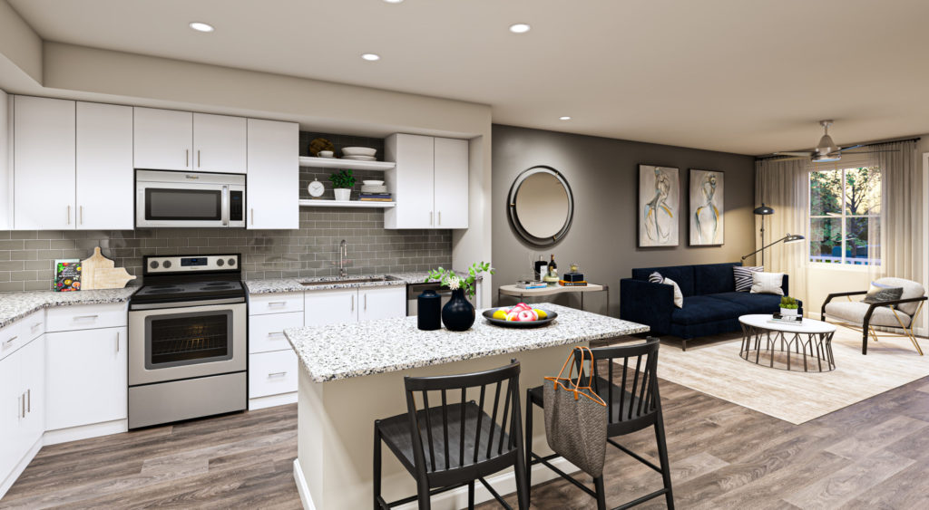 Gourmet kitchens with chef's island and pantry - Upscale Apartment Features at Alexan 335