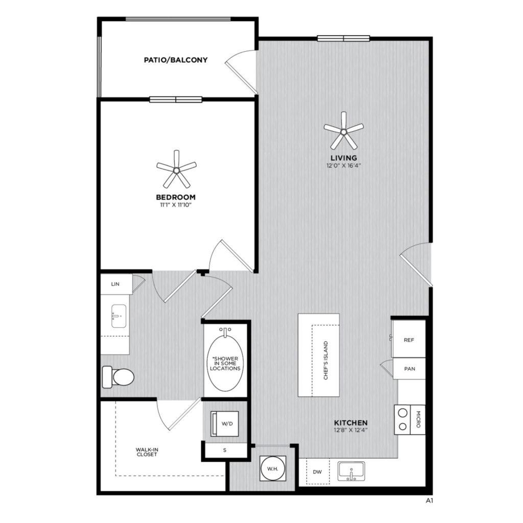 A1 Aloe One Bed/One Bath Luxury Floor Plan - Roomy Luxury at Alexan 335